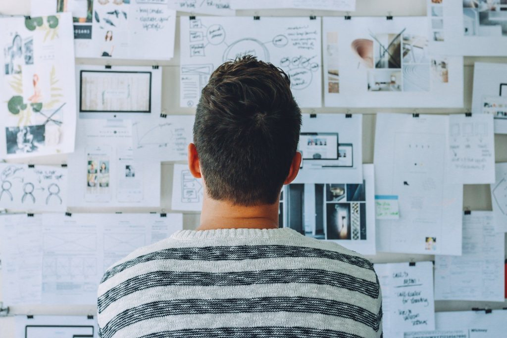 man visualizing a problem from daily journaling